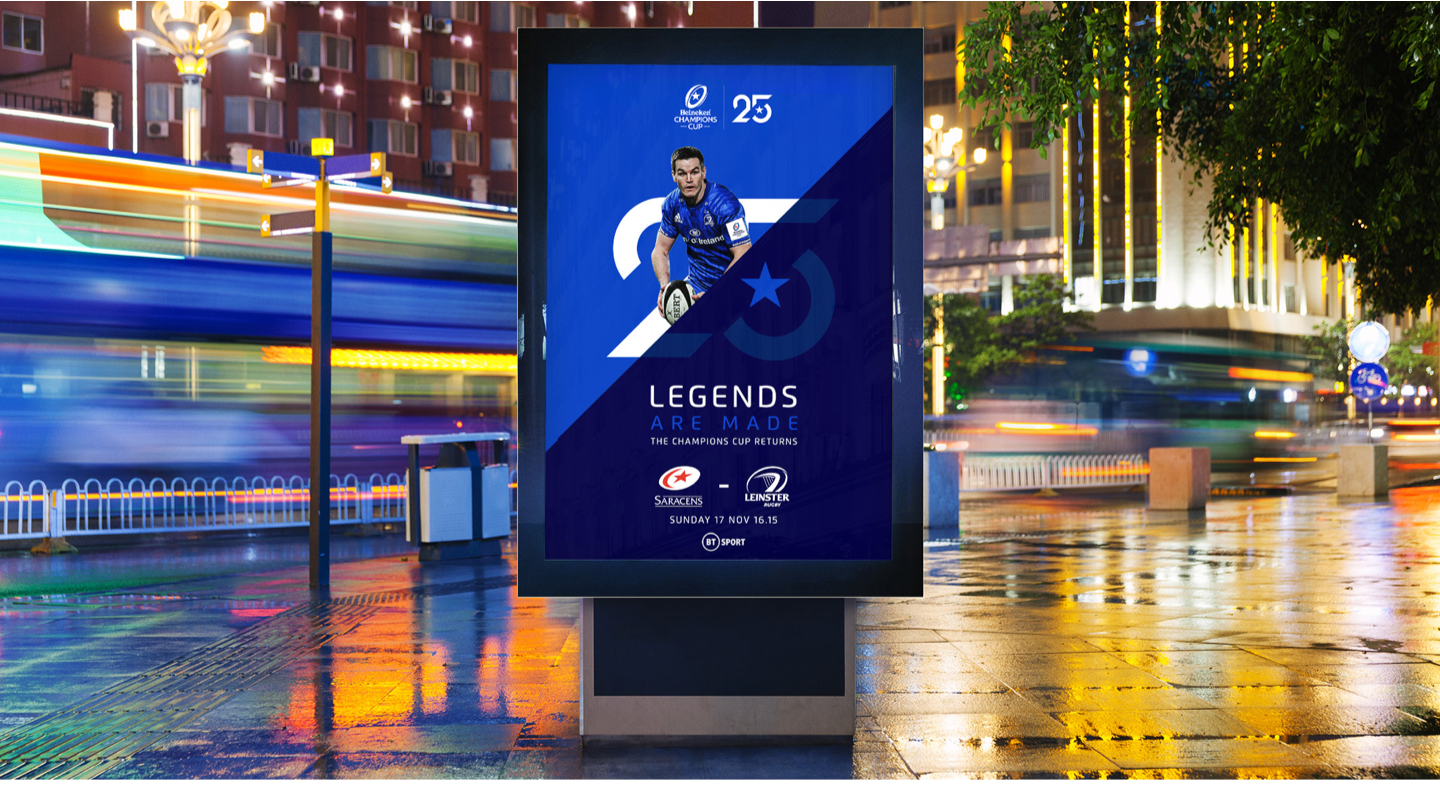 Champions cup outdoor advertising at night