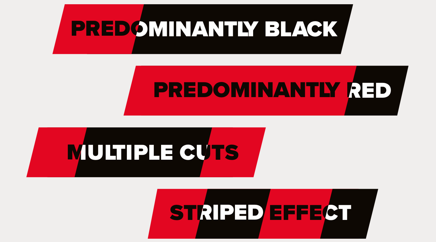 SBD red and black cut typographic graphics