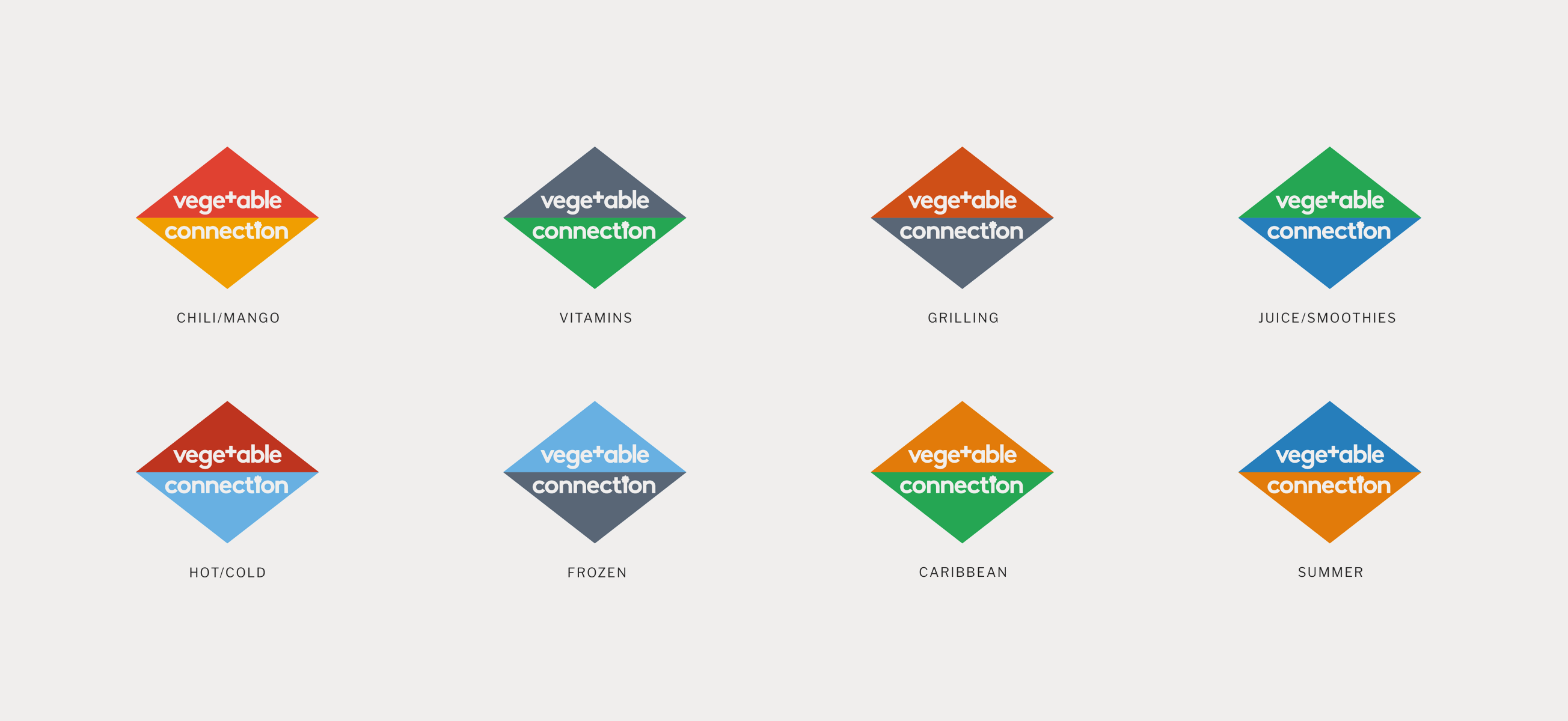 Vegetable connection icon set