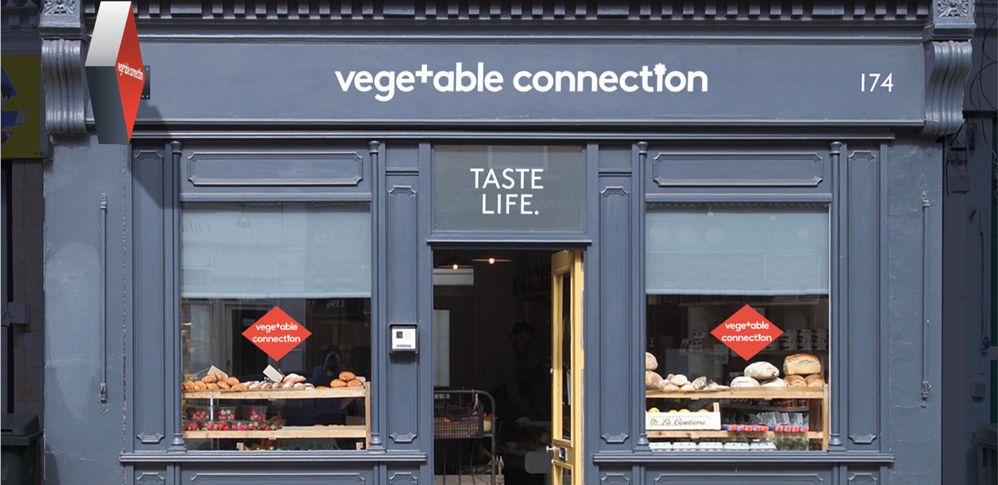 Vegetable Connection painted store front facade