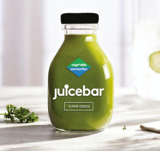 Vegetable Connection green glass juice bottle