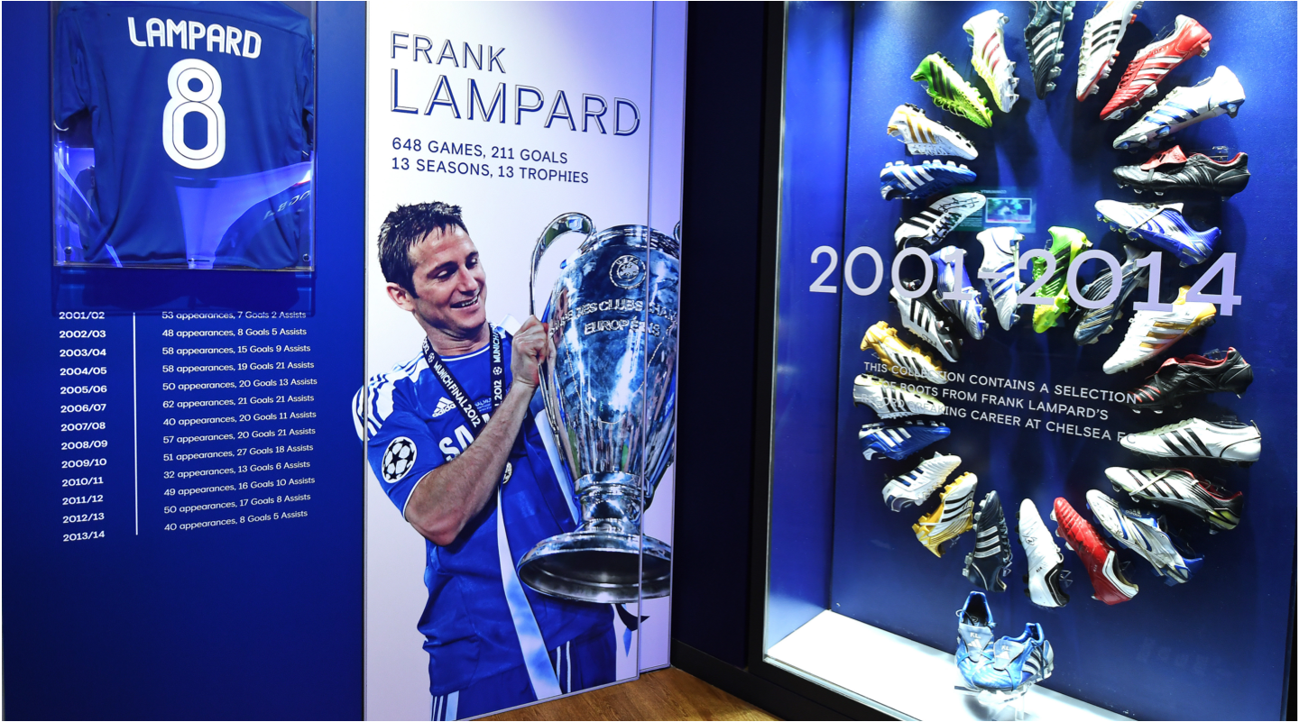 Frank Lampards boots on display at Chelsea FC museum