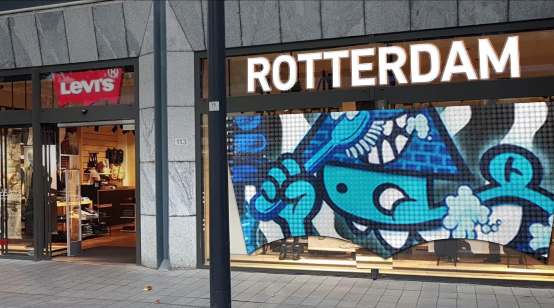 Levi's Rotterdam store front with graffiti art