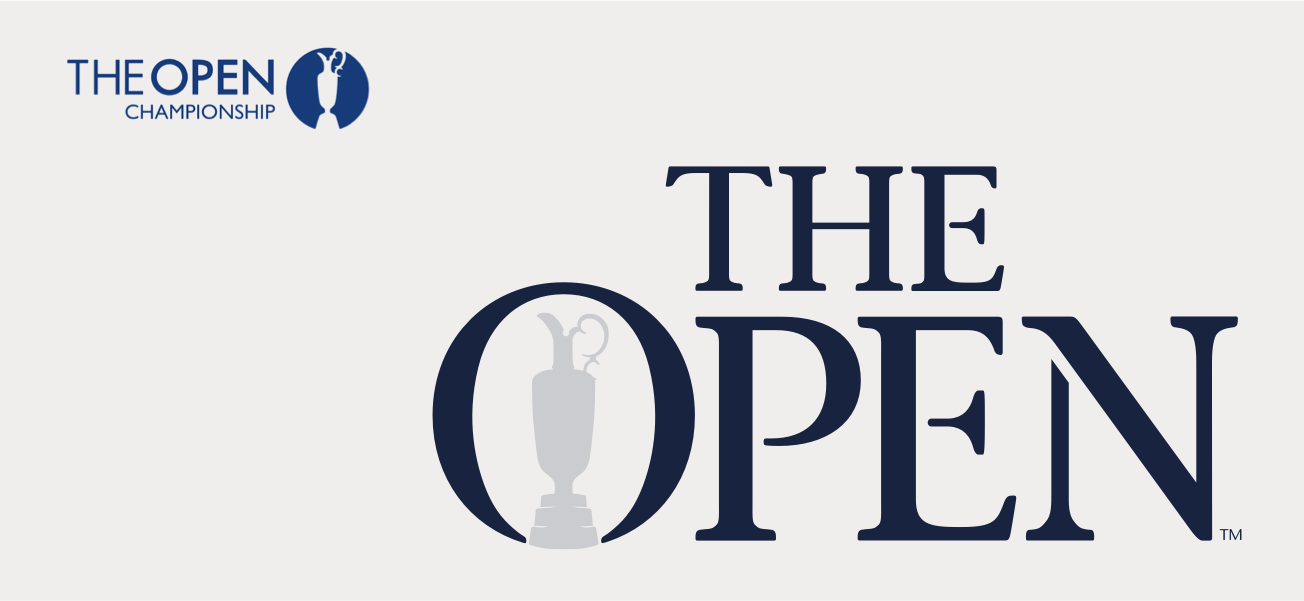 The Open logo before and after