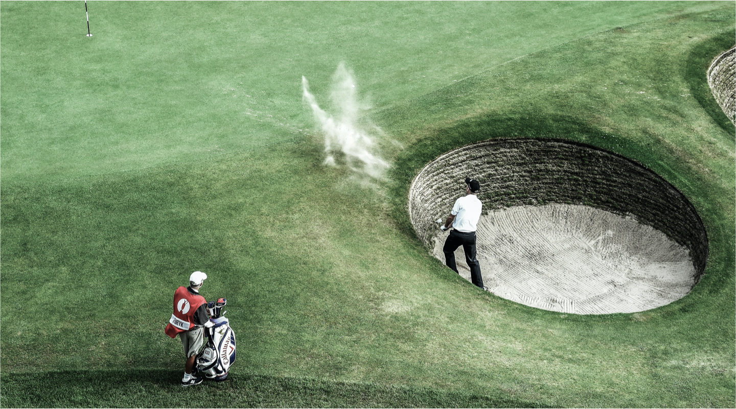 The Open golfer doing a bunker shot