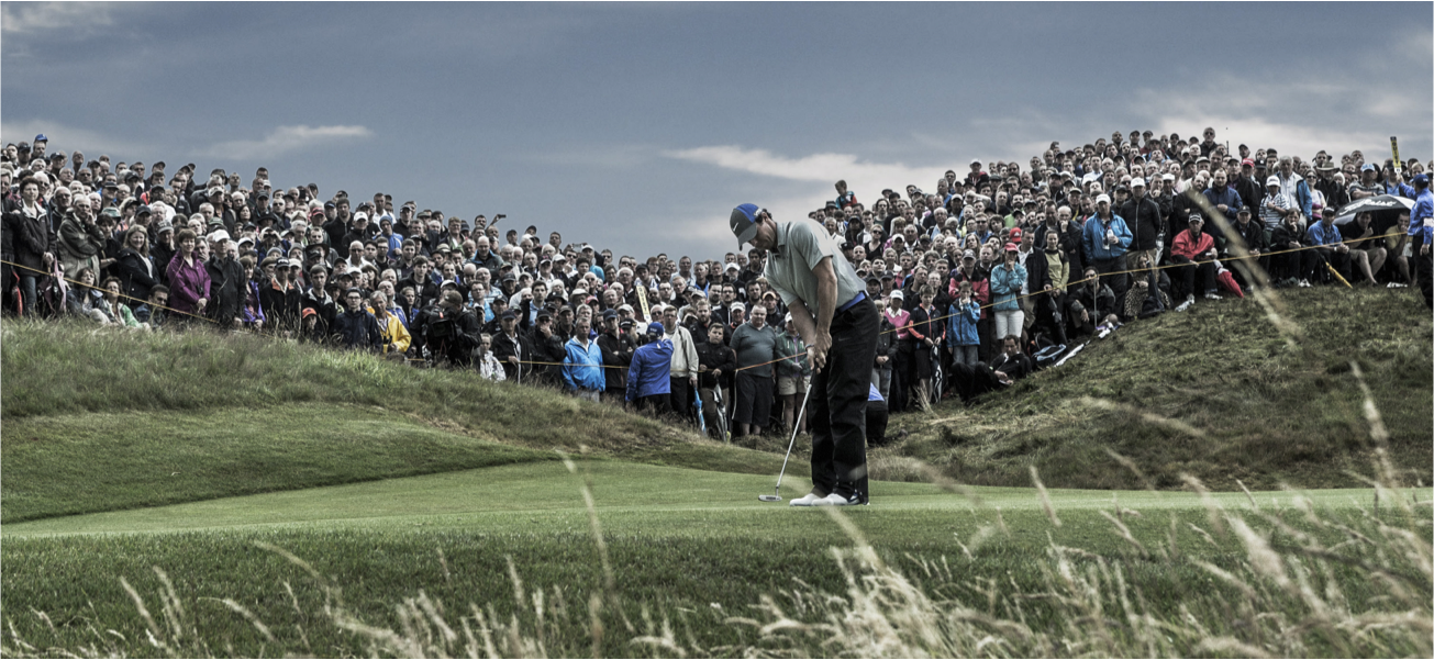 The Open golfer in front of a large crowd