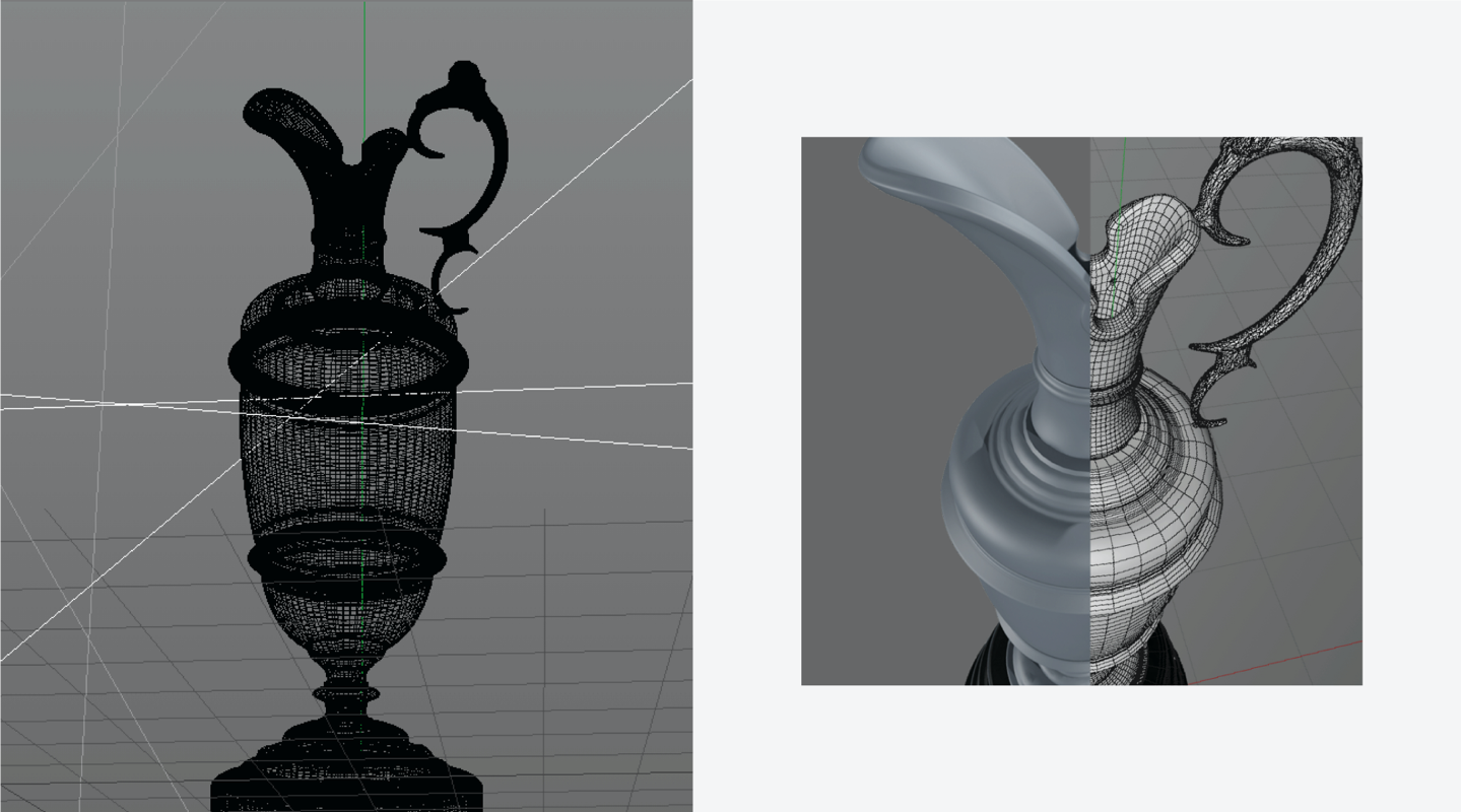 The Open trophy 3d renders wireframes